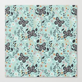 Flowers and butterflies pattern 002 Canvas Print