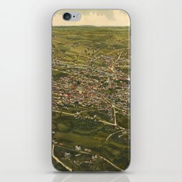 Vintage Pictorial Map of Stamford CT (1883) iPhone Skin