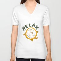 relax V-neck T-shirts featuring Relax by Vaughn Fender