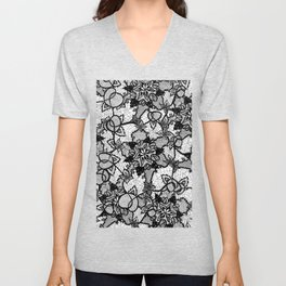 Elegant floral black hand drawn lace pattern Unisex V-Neck