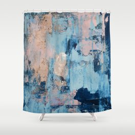 Sunbeam: a pretty abstract painting in pink, blue, and gold by Alyssa Hamilton Art Shower Curtain