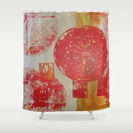Antique door handle - abstract, rustic, antique, bright, warm, red, acrylic piece Shower Curtain