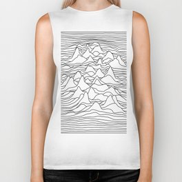 Black and white graphic - sound wave illustration Biker Tank