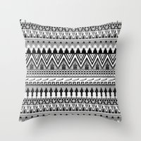 whisky Throw Pillows featuring WHISKY AZTEC B/W  by Kiley Victoria