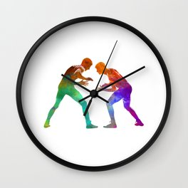 Wrestlers wrestling men 01 in watercolor Wall Clock
