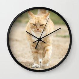 Ginger Cat Walking Wall Clock