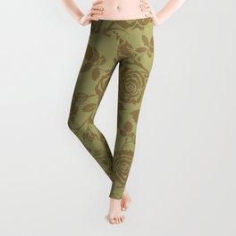 Rose tan and brown repeating pattern Leggings
