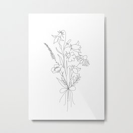 Small Wildflowers Minimalist Line Art Metal Print
