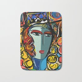 Portrait of a Girl with Hat French Pop Art Expressionism Bath Mat