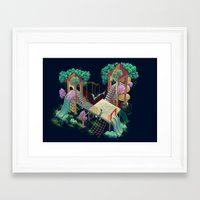 lovers Framed Art Prints featuring Lovers by Miguel Co