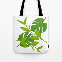 Simply Tropical Leaves with White background Tote Bag