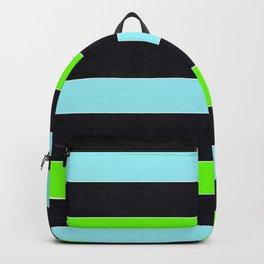 Black Green Turquoise Modern Geometric Colorful Striped Backpack