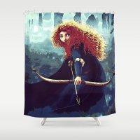 merida Shower Curtains featuring Brave - Merida by Juniper Vinetree