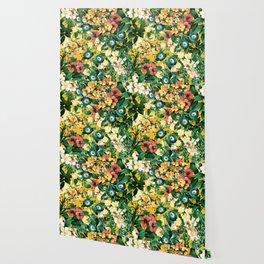 Tangerine Floral Pattern Vintage Wallpaper