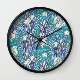 Crocuses, floral pattern in turquoise, blue and white Wall Clock