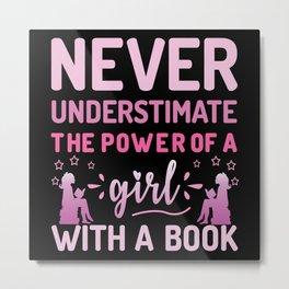 Book Girl Metal Print