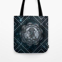 Gemini Zodiac Silver Embossed on the Star sky Tote Bag
