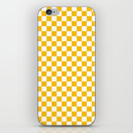 White and Amber Orange Checkerboard iPhone Skin