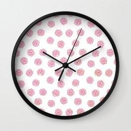 Elegant girly faux gold pink glitter flowers Wall Clock