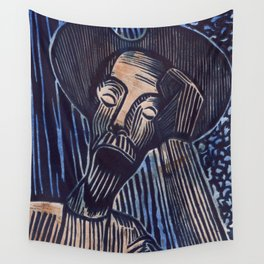 Don Quixote in Blue and Rust Wall Tapestry
