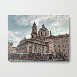 Here comes the tram, Prague Metal Print