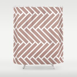 Beige and white herringbone pattern Shower Curtain