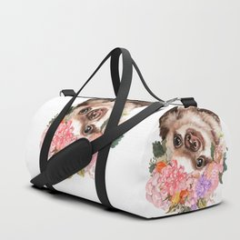 Baby Sloth with Flowers Crown in White Duffle Bag