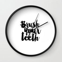 Brush Your Teeth Education Sign Nursery Typography Bathroom Decor Nursery Poster Printable Bathroom Wall Clock