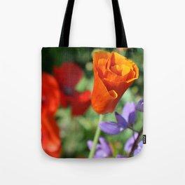 Orange Poppy Unfurling in Haines, Alaska by Mandy Ramsey Tote Bag