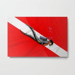 Diver And Dive Flag Metal Print