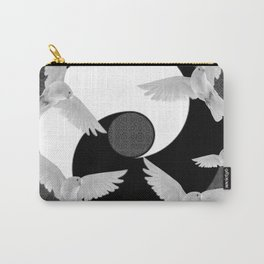 B&W  YIN & YANG Taoism/Daoism PEACE DOVES Carry-All Pouch
