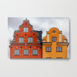 Stockholm. Colorful Houses in Gamla Stan Metal Print