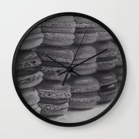 macaroons Wall Clocks featuring macaroons by Amit Naftali