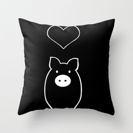 Monochrome Pig in Love Throw Pillow