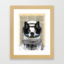 Space Pup with dictionary background Framed Art Print