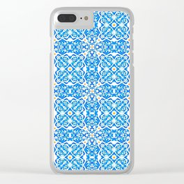 Tangerine and Blue Deco Pattern Clear iPhone Case