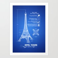 eiffel tower Art Prints featuring  Eiffel Tower by mewdew