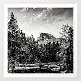 Half Dome Yosemite Mountain Landscape in Black and White Art Print