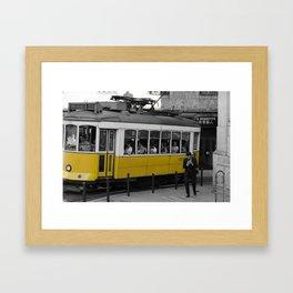 Tram Smoking in Lisbon Framed Art Print