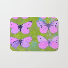Pink butterfly vintage book plate style Bath Mat