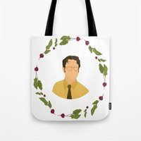 dwight Tote Bags featuring Dwight K Schrute by Cheese on Toast