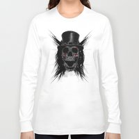 hat Long Sleeve T-shirts featuring Skull Hat by Fathi