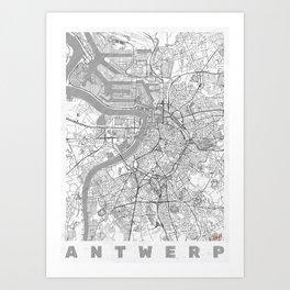 Antwerp Map Line Art Print