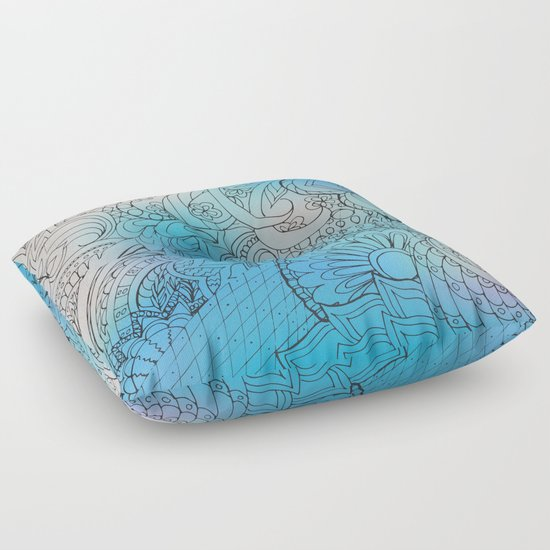 Zen Floor Pillows : transparent black zen pattern light blue gradient Floor Pillow by Alina Society6