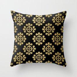 Gold on Black Repeating Tile Digital Design Throw Pillow