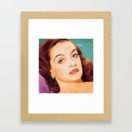 Bette Davis Vintage Hollywood Line Art Pastel Portrait Framed Art Print