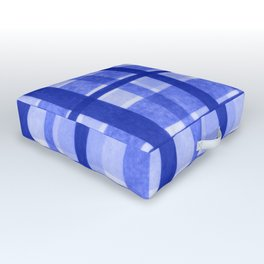 Tissue Paper Plaid - Blue Outdoor Floor Cushion