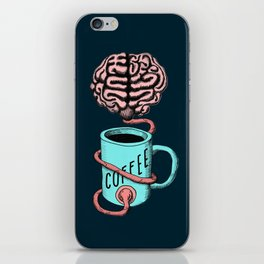 Coffee for the brain. Funny coffee illustration iPhone Skin