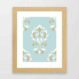 Heart Damask Ptn Gold Cream Blue Framed Art Print