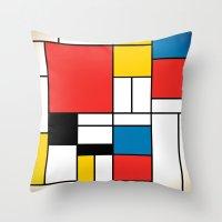 mondrian Throw Pillows featuring Mondrian  by Studio 401
